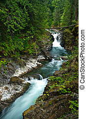 Waterfall on Vancouver Island - Little Qualicum Falls flows...