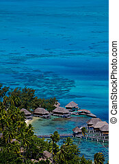 Resort Bungalows, Bora Bora Island, Tahiti - View looking...