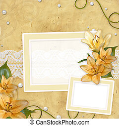 Card for invitation or congratulation with  lilies