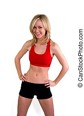 Woman in fitness clothing with an ideal waist