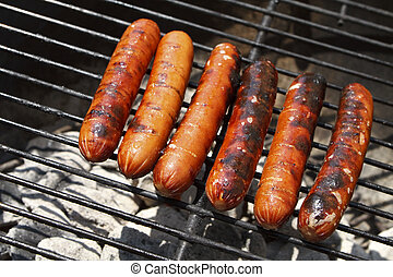 Juicy Grilled Hot Dogs on a Charcoal Grill