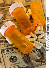 Rising Cost of Healthcare - Open bottle of pills spilling...