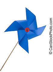 Blue windmill toy - Single blue pinwheel isolated close up...