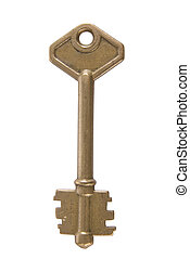 Silver key close up - One silver key close up isolated on...