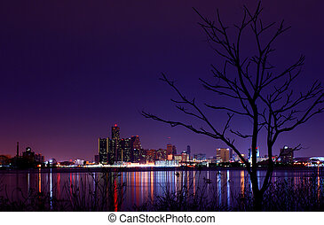 Detroit - The Detroit Skyline viewed from Windsor, Ontario...