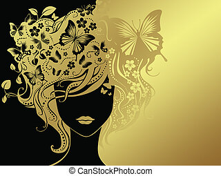 woman and butterflies - golden woman with butterflies in the...
