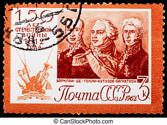 Postage Stamp - USSR- CIRCA 1962 : stamp printed in USSR the...