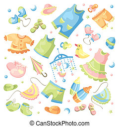 set of baby clothing - vector set of baby clothing and...