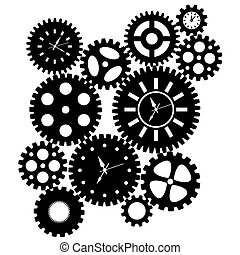Time Clock Gears Clipart Black SIlhouette Isolated on White...