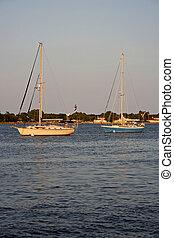 Matanzas Bay - Sailboats on Matanzas Bay with the St....