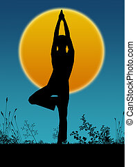 yoga posture with sun rise