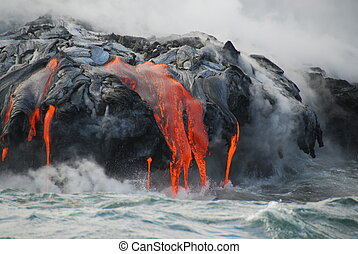 Multiple Lava Flows, Ocean, Steam, - Red hot lava from...