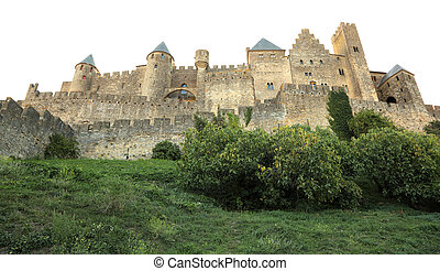Fortified wall of the medieval town Carcassonne in France