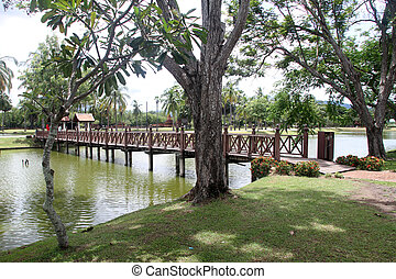 Wooden footbridge