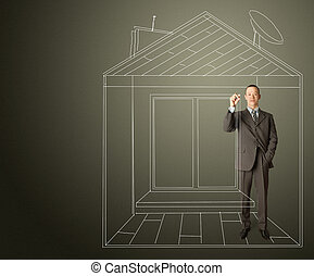 asian businessman with marker in fictional house - asian...