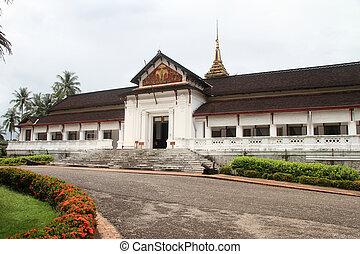 Facade of royal palace in Luang Prabang, Laos