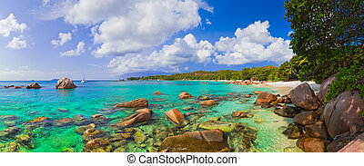 Panorama of beach Anse Lazio at Seychelles - nature...