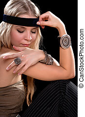 young blonde with closed eyes