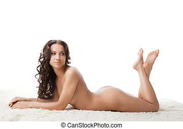Beauty naked woman lay on white fur - Beauty nude young...