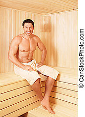 Health-care - Mature man in a sauna