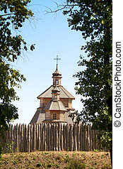 wood church on island Hortitsa Ukraine