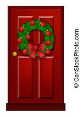 Red Door with Christmas Wreath Illustration - House Red Door...