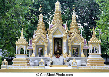 Buddhist shrine - White temple buddhist shrine in Dusit...