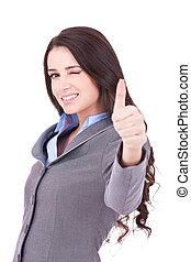 mujer, Guiñar, empresa / negocio