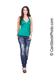 Casual woman walking - isolated over a white background