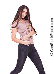 casual woman in jeans with free long hair