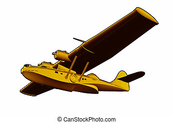 Catalina Flying Boat Sea Plane - Illustration of World War...