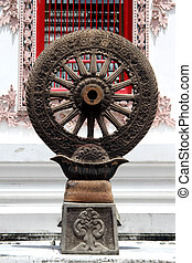 Dharma in Tri Thotsathep - Stone wheel of Dharma near wall...