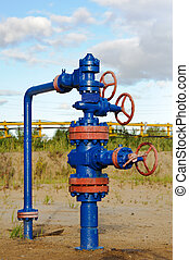 Wellhead. - Oil, gas industry. Wellhead with valve armature.