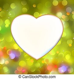 Abstract heart card in yellow. EPS 8