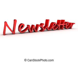 newsletter 3d over white background
