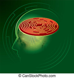 Labyrinth Mind. Human head psychology symbol. Vector...