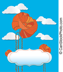 Red poppy card with clouds