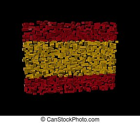 Spanish flag on blocks illustration