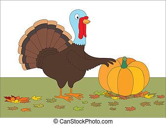 Thanksgiving turkey with pumpkin