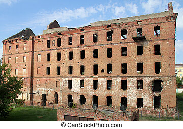 Ruins of red brick mill - Ruined red brick mill in the...