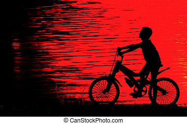 Boy on BMX silhouette background