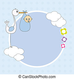 Frame baby boy - Baby boy arrival announcement Stork with a...