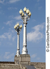 Street lights on the stairrcase in Volgograd, Russia
