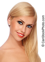 Smiling blonde - Young beautiful smiling blond woman with...