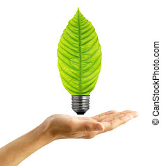 Ecological concept, leaf and lamp mixed together with hand -...