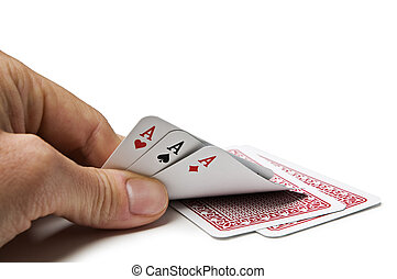 Poker game - Gesture of hand hiding cards in poker game
