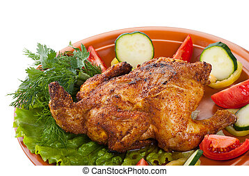 fresh grilled whole chicken with vegetables
