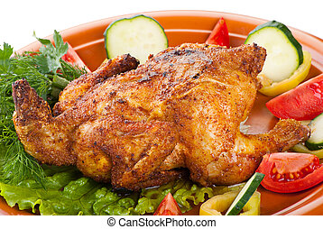 fresh grilled whole chicken with vegetables - fresh grilled...