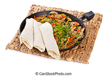 tradicional, mexicano, carne de vaca, Fajitas, Tortillas