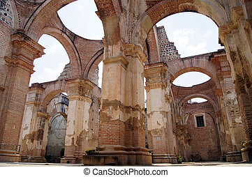 Ruins of brick cathedral in Antigua Guatemala